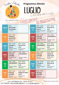 Farollo e Falpalà, libreria per bambini di Firenze, organizza eventi estivi per bambini di tutte le età. letture animate, giochi, laboratori creativi